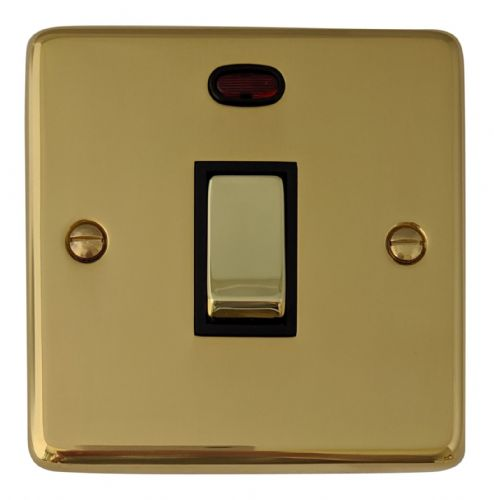 G&H CB326 Standard Plate Polished Brass 1 Gang 20 Amp Double Pole Switch & Neon